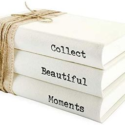 AuldHome Faux Book Stack: Collect Beautiful Moments Decorative Book Set with Burlap Ribbon Wrap... | Amazon (US)