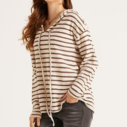 Suzanne Betro Weekend Women's Sweatshirts and Hoodies 101IVORY/COFFEE - Ivory & Coffee Stripe Pullov   Zulily
