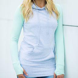 Olivia & Jane Women's Sweatshirts and Hoodies Mint - Mint & Heather Gray Thumbhole Hoodie - Women &    Zulily