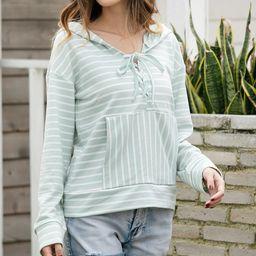 Z Avenue Women's Sweatshirts and Hoodies Mint - Mint Stripe Lace-Up Accent Hoodie - Women & Plus   Zulily