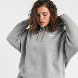 Nike Plus mini swoosh oversized hoodie with tuck sleeve detail in grey   ASOS (Global)