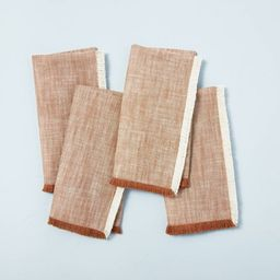 4pc Cross Weave with Fringe Napkin Set Pumpkin Brown - Hearth & Hand™ with Magnolia   Target