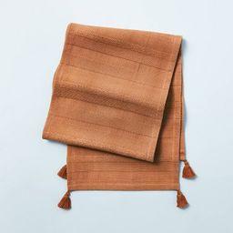 Ribbed Corner Tassels Table Runner Pumpkin Brown - Hearth & Hand™ with Magnolia   Target