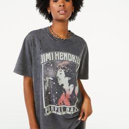 Scoop Women's Jimi Hendrix Purple Haze Graphic Short Sleeve T-Shirt | Walmart (US)