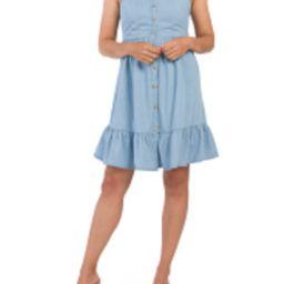 Juniors Button Down Tiered Chambray Dress | TJ Maxx