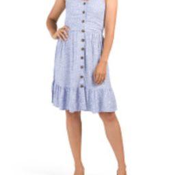 Junior Floral Print Button Detail Dress | TJ Maxx