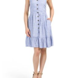 Juniors Ditsy Floral Ruffle Button Dress | Marshalls