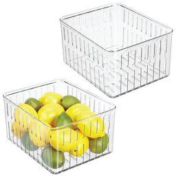 mDesign Vented Fridge Storage Bin for Fruit, Vegetables, 2 Pack - Clear   Target