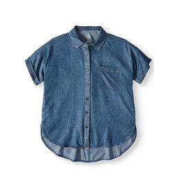 Wonder Nation Button Down Camp Shirt (Little Girls, Big Girls & Plus)   Walmart (US)
