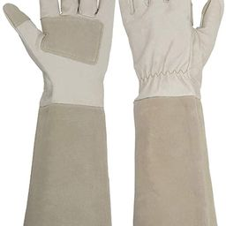 Long Sleeve Leather Gardening Gloves,Rose Pruning Floral Gauntlet Garden Gloves For Women and Men | Amazon (US)