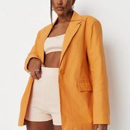 Sarah Ashcroft x Missguided Orange Linen Mix Tailored Oversized Blazer   Missguided (US & CA)