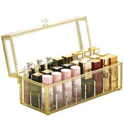 Lipstick Holder Dust Free Glass Transparent Lip Gloss Eye Liner Vanity Cabinet Makeup Organizer w...   Amazon (US)