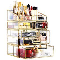 minopigo Antique Spacious Mirror Glass Drawers Set/Metal Cosmetic Makeup Storage/Stunning Jewelry...   Amazon (US)