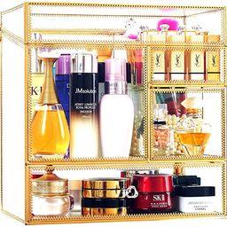 Stackable Glass Makeup Organizer Antique Countertop Vanity Cosmetic Storage Box Mirror Glass Beau...   Amazon (US)