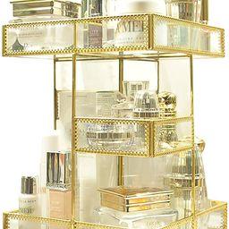 360 Degree Rotation Makeup Organizer Antique Countertop Cosmetic Storage Box Mirror Glass Beauty ...   Amazon (US)