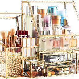 Stackable 3Pieces Drawer Set Organizer/Glass Bathroom Organizer/Antique Countertop Vanity Cosmeti...   Amazon (US)