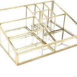 minopigo Antique Spacious Mirror Glass Vanity Tray/Stunning Gold Comestic Makeup Storage/Jewelry ...   Amazon (US)