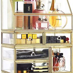 Antique Spacious Mirror Glass Drawers Set/ Vanity Dresser Gold Makeup Storage /Stunning Cube Beau...   Amazon (US)