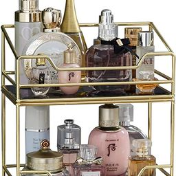 2Layer Stackable Glass Perfume Tray/2 Tirer Spacious Gold Black Mirror Metal Bathroom Tray for Ma...   Amazon (US)