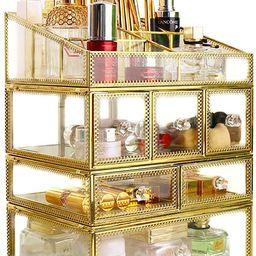 minopigo Antique Spacious Mirror Glass 6Drawers Vanity Tray Set/Gold Metal Cosmetic Makeup Storag...   Amazon (US)
