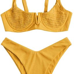 ZAFUL Women's Smocked Tie Shoulder Bikini Set Shirred Underwire Two Pieces Swimsuit   Amazon (US)