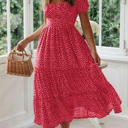 Women's Loose Sweet Square Collar Puff Sleeve Floral Dress   Walmart (US)