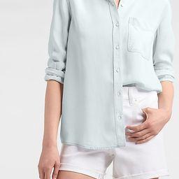 Patch Pocket Denim Boyfriend Shirt   Express