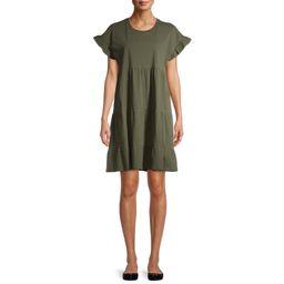 Time and Tru Women's Flutter Sleeve Tiered Dress   Walmart (US)