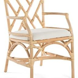Rattan Chippendale Upholstered Dining Armchair, Natural Color, Set of 2 Chairs | Amazon (US)
