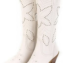 ANN CREEK Women's 'Hornsby' White Studded Western Boots | Amazon (US)