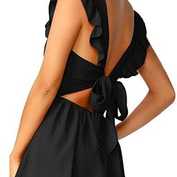 Romwe Women's Cute Tie Back Ruffle Strap A Line Fit and Flare Flowy Short Dress | Amazon (US)