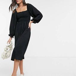 New Look shirred square neck midi dress in black | ASOS (Global)