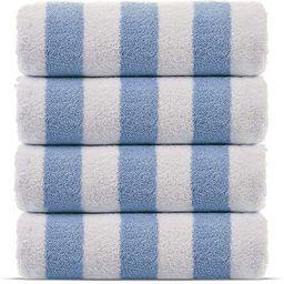 Amazon.com: Premium Quality 100% Cotton Turkish Cabana Thick Stripe Pool Beach Towels 4-Pack (Lig...   Amazon (US)