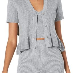 The Drop Women's Catalina Peplum Ruffle Rib Cardigan Sweater | Amazon (US)