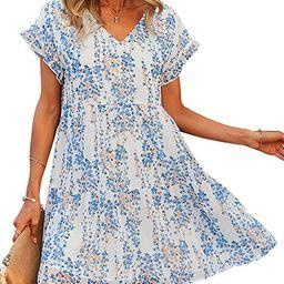 Theenkoln Women Tunic Dress V Neck Short Sleeve Ruffle Floral Printed Casual Loose Flowy Swing Sh...   Amazon (US)