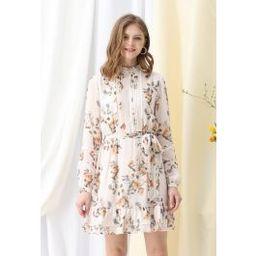 Posy Printed Eyelet Trims Chiffon Dress   Chicwish
