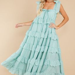 Made To Admire Aloe Green Gingham Dress | Red Dress