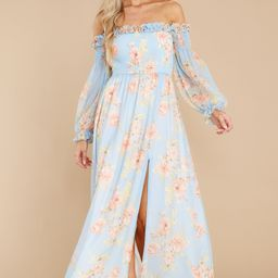See You Looking Light Blue Floral Print Maxi Dress   Red Dress