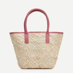 Woven tote with leather trim | J.Crew US