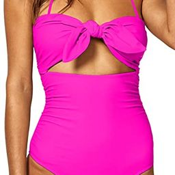 BOOSOULY Women's Beandeau Tie Knot Front Cut Out High Waist One Piece Swimsuits | Amazon (US)