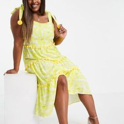 Never Fully Dressed Plus tiered midi sun print dress with pom pom details in yellow   ASOS (Global)