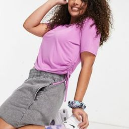 ASOS DESIGN Curve slim line cropped T-shirt with ruched side detail in electric violet   ASOS (Global)