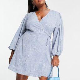 Glamorous Curve puff sleeve wrap dress in blue dot print   ASOS (Global)