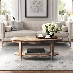 Francoise Solid Wood Coffee Table with Storage   Wayfair North America
