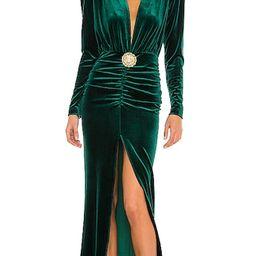 Margot V Neck Gown in Dark Green | Revolve Clothing (Global)