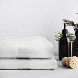 "Hotel Style Luxury Anti-microbial Pima Cotton 2 Piece Bath Sheet Set (68"" x 35""), Arctic White | Walmart (US)"