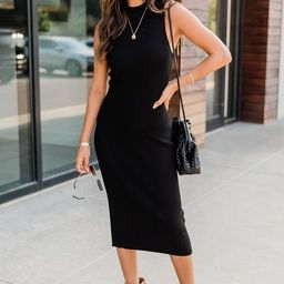 Sparks Fly Black Mock Neck Ribbed Midi Dress | The Pink Lily Boutique