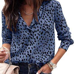 Avanova Women's Casual Leopard Print Tops Blouse V Neck Long Sleeve Button Down Shirt | Amazon (US)