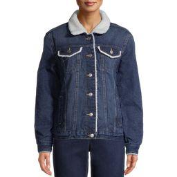 Time And Tru Women's Sherpa Lined Denim Medium Wash Jacket | Walmart (US)
