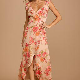 Start of Something New Beige Floral Print Wrap Maxi Dress | Lulus (US)